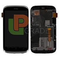 Дисплей для HTC T328e Desire X + тачскрин, черный, с передней панелью серебристого цвета