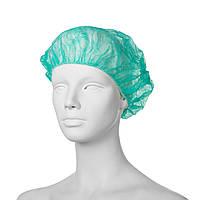 Шапочка-шарлотка из нетканого материала (берет) спанбонд Mercator Medical (100 шт в упаковке) зеленая