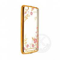Xiaomi Redmi 3 Силиконовый чехол - бампер для мобильного телефона (смартфона) Стразы цветы принт gold