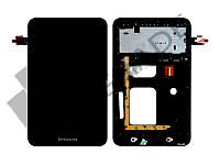 Дисплей для Lenovo A3000 IdeaTab + тачскрин, черный, с передней панелью