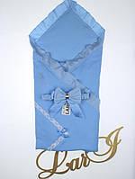 Летний конверт-одеяло Улыбка голубой