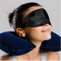 Дорожная надувная подушка ( комплект: подушка, беруши, маска для сна)