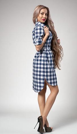 """Легкое платье-рубашка """"Клетка"""" размеры 44, 46,48,50 синяя клетка, фото 2"""