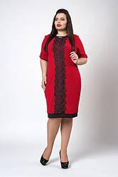 Літнє плаття з креп-дайвінгу, прикрашене мереживом, р. 50,52 червоне (706)