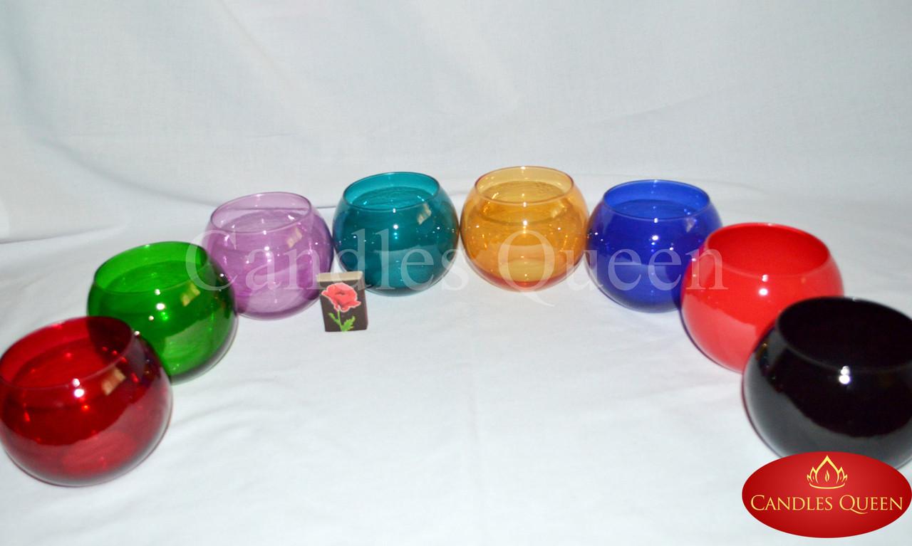 Ваза стеклянная цветная шар 100 х 120 мм цвет оранжевый