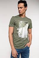 Оливковая мужская футболка De Facto / Де Факто с рисунком на груди