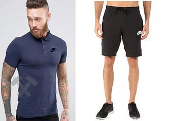 Мужской комплект поло + шорты Nike черного и синего цвета (люкс копия)