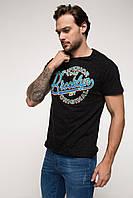Черная мужская футболка De Facto / Де Факто с надписью Brooklyn на груди
