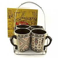 Набор чайный на подставке Helios 4кружки 350 мл 2520, фото 1