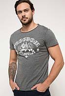 Серая мужская футболка De Facto / Де Факто с надписью Freedom на груди, фото 1