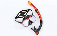 Набор для плавания маска с трубкой Zelart, термостекло, силикон, пластик, красный (M208-SN120-SIL-(rd))