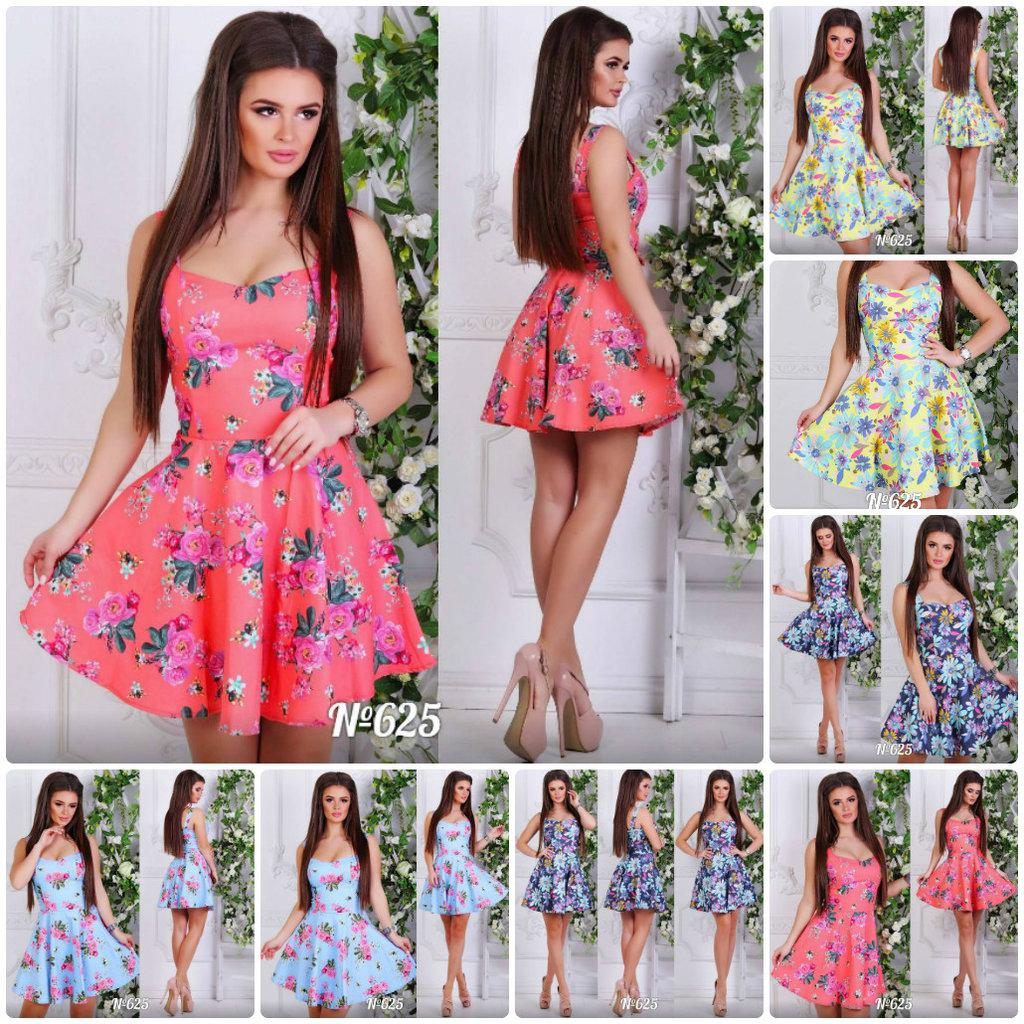 Сарафан на бретелях Flowers летнее платье пышная юбка короткое