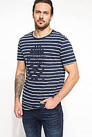 Синяя мужская футболка De Facto / Де Факто в полоску с надписью Less the Better