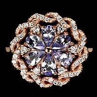 Кольцо танзаниты натуральные серебро 925. Цветок – круг.