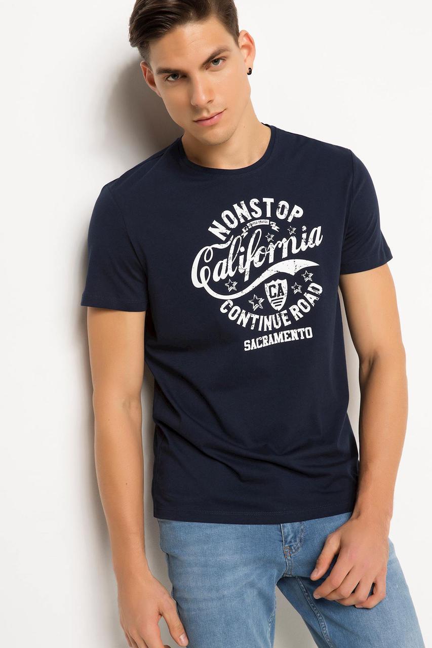 Синяя мужская футболка De Facto / Де Факто с надписью California