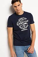 Синяя мужская футболка De Facto / Де Факто с надписью California, фото 1