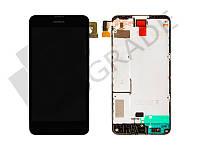 Дисплей для Nokia 630 Lumia/635/636/638 + тачскрин, черный, с передней панелью