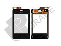Тачскрин для Nokia 502 Asha Dual Sim, черный, с креплениями под винты