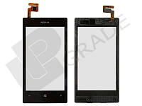 Тачскрин для Nokia 520 Lumia/525 Lumia, черный, с передней панелью