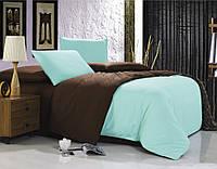 Однотонное постельное белье евро размера голубое с коричневым