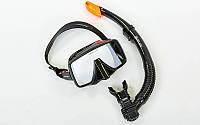 Набор для плавания маска с трубкой Zelart  M109-SN50-4-SIL (черный)