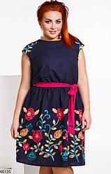 Платье летнее льняное с вышивкой XL