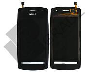 Тачскрин для Nokia 600, черный, с передней панелью, оригинал (Китай)