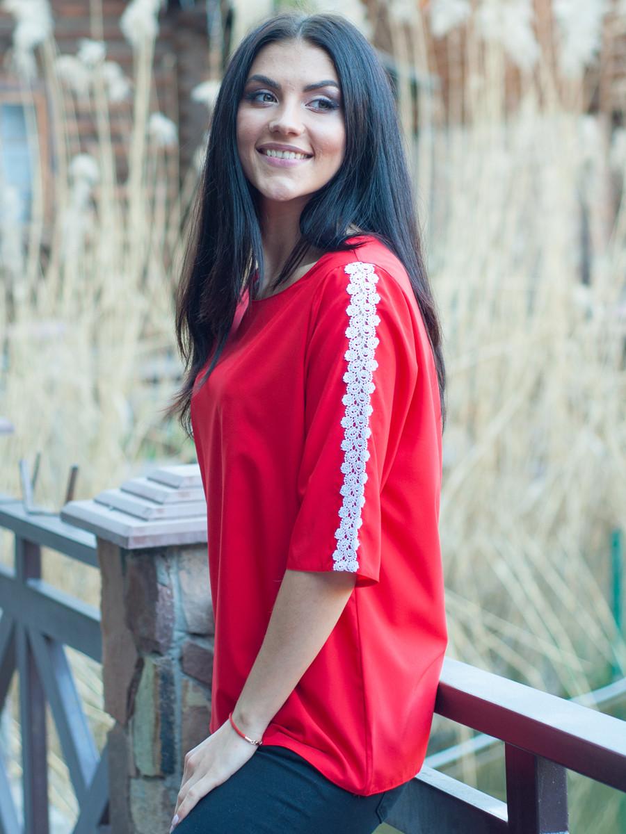 Красная женская блуза с ажуром 48 50