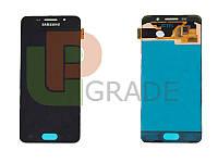 Дисплей (экран)  Samsung A310F Galaxy A3 2016 + тачскрин (сенсор), черный, оригинал , переклеено стекло
