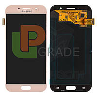 Дисплей для Samsung A520F Galaxy A5 (2017) + тачскрин, розовый, Peach Cloud, оригинал 100%
