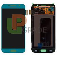 Дисплей для Samsung G920F Galaxy S6 + тачскрин, голубой, Blue Topaz, оригинал (Китай)