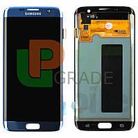 Дисплей Samsung G935F Galaxy S7 Edge с тачскрином (модуль), синий, Coral Blue, Amoled, оригинал , переклеено стекло