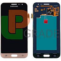 Дисплей для Samsung J320H/DS Galaxy J3 (2016) + тачскрин, золотистый, оригинал (Китай), переклеено стекло