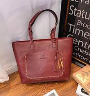 Женская сумка большая бордовая с кисточкой из экокожи опт, фото 1