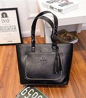 Жіноча сумка велика чорна з пензликом з екошкіри, фото 1