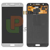 Дисплей для Samsung J701F Galaxy J7 Neo + тачскрин, серебристый, оригинал (Китай), переклеено стекло