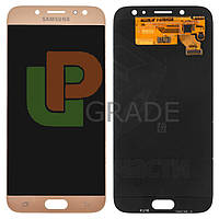 Дисплей для Samsung J730F Galaxy J7 (2017) + тачскрин, золотистый, оригинал (Китай), переклеено стекло
