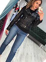 Женская кожаная куртка с поясом косуха-байкерка