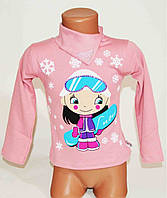 Модная розовая детская кофта на девочку Лыжница