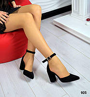 Женские летние туфли /Босоножки с закрытым носком на толстом устойчивом каблуке черного цвета