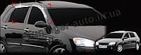 Дефлекторы окон(Ветровики) KiaKia Cerato (хетчбек) 2004-2008 (Auto clover/хромированные)