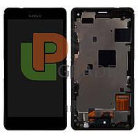 Дисплей для Sony D5803 Xperia Z3 Compact/D5833 + тачскрин, черный, с передней панелью