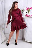 Платье миди с длинным рукавом. Большие размеры. Разные цвета.