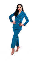 Пиджак женский вельветовый,бирюзовый.