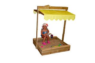 Детская деревянная песочница, 100*100 с крышкой