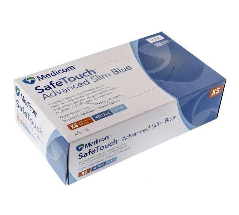 Перчатки нитриловые SafeTouch Advanced Slim Blue без пудры (100шт/уп) голубые