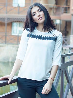 Офисная белая блуза с ажуром
