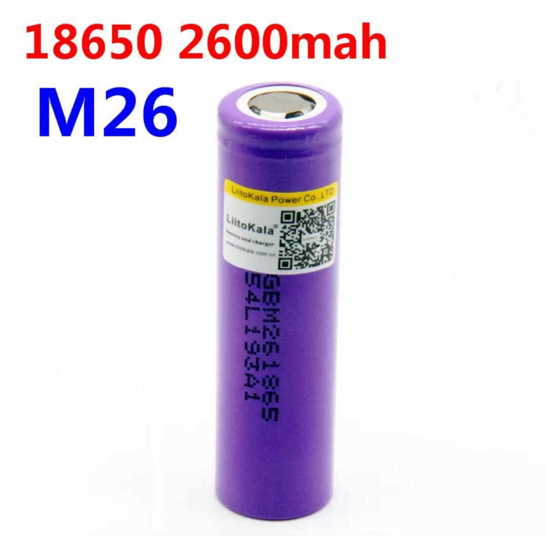 Акумуляторні батарейки LiitoKala 18650 2600 mAh Li-ion 10A