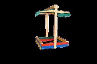Детская деревянная песочница 100*100 с крышкой цветная