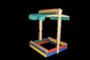 Детская деревянная песочница 100*100 с крышкой цветная, фото 3
